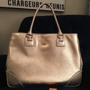 Tory Burch Gold Metallic Saffiano Tote